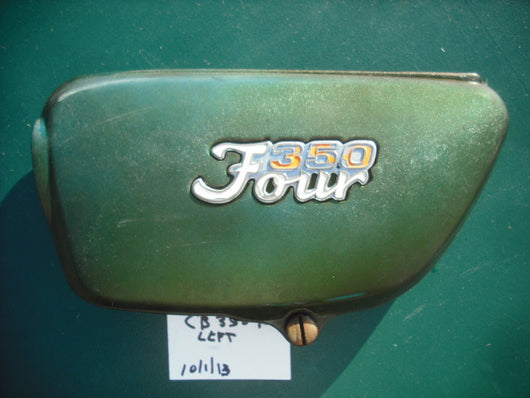 Honda CB350F 350 Four Green Sidecover left  with badge 4016