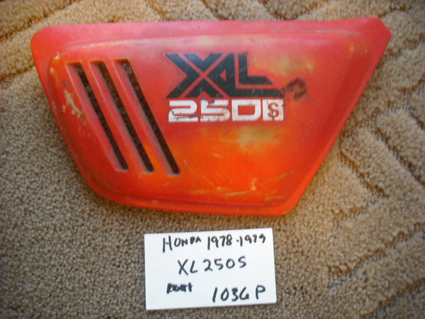 Honda XL250 1978 1979  83600-428-0000 Right Sidecover red sku 1036