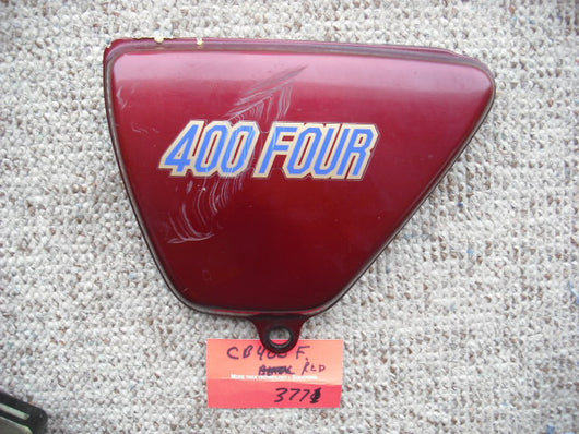 Honda CB400 Four CB400F red left sidecover 83700-377-000ZP