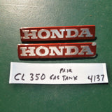 Honda CB350K0K2  CL350 red Gas Tank Badge Pair