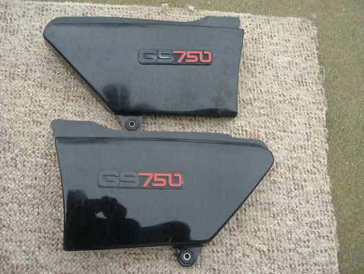 Suzuki GS750E Sidecovers 1977-1979 Matched Pair Black 1620