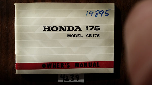 Honda CB175K3 1970 NOS Manual sku 4329