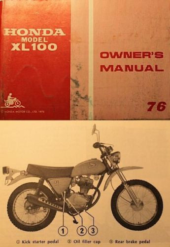 Honda XL100K2 NOS New 1976 Manual sku 4249
