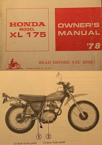 Honda XL175 1978 Owners Manual sku 4250
