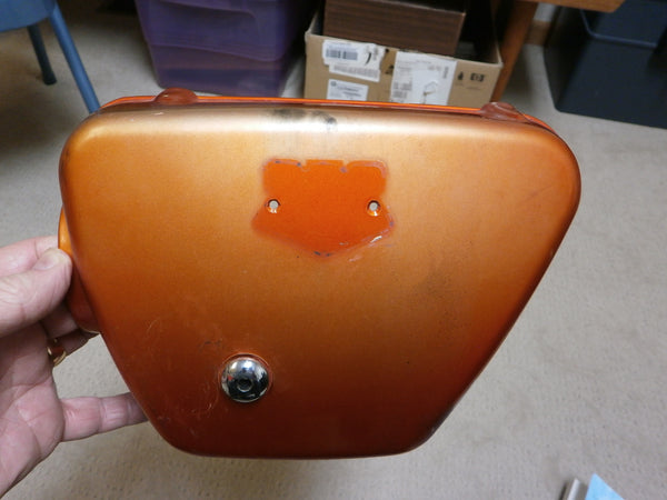 Honda CB350K0K2 Left Sidecover Candy Topaz Orange no badge 1980