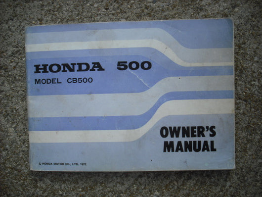 Honda CB500 K2 Owners Manual