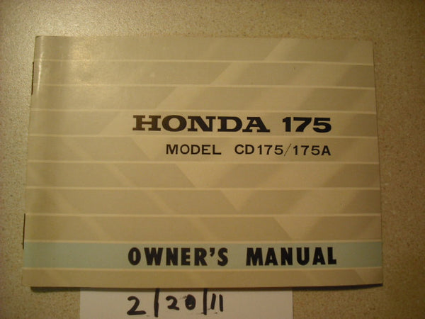 Honda CD175K3 Owners Manual sku 1877