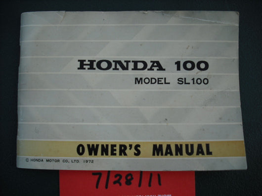 Honda SL100 K2  Manual