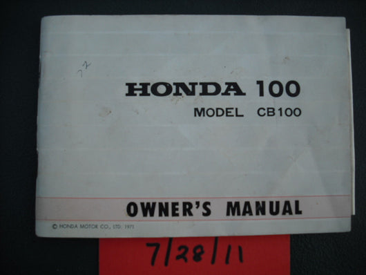 Honda CB100 K2 1971 Manual 1956