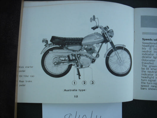 Honda CL100 K1 100S K1 Manual 1971 sku1978
