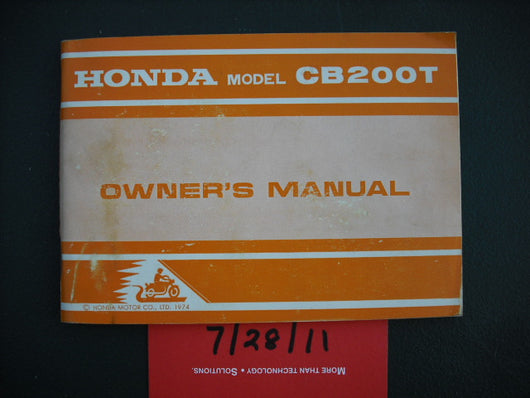 Honda CB200T 1974 Manual sku 3444