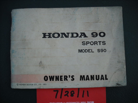 Honda Super 90 Owners Manual Non US Manual sku 1954