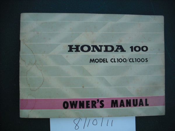 Honda CL100K1  Honda CL100SK1 Manual  USA Australian Models 1971 sku 1978