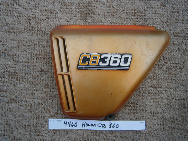 Honda CB360 candy topaz orange lft sidecover with badge 4460