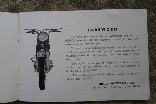 Sold by Invoice 9/26/16 Honda CB72 CB77 250 305 Superhawk Owners manual 1966  4331