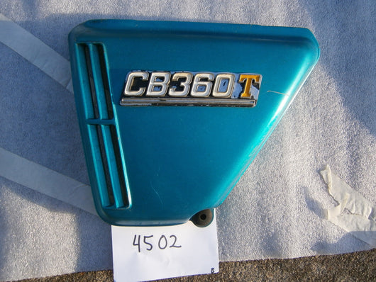 Honda CB360T left Candy Rivera Blue Sidecover 4502