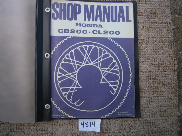 Honda CB200 Honda CL200 Factory Shop Manual 4514