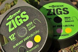 Korda Ready Tied Zig Rigs - Barbless -spool incl 3 hook baits