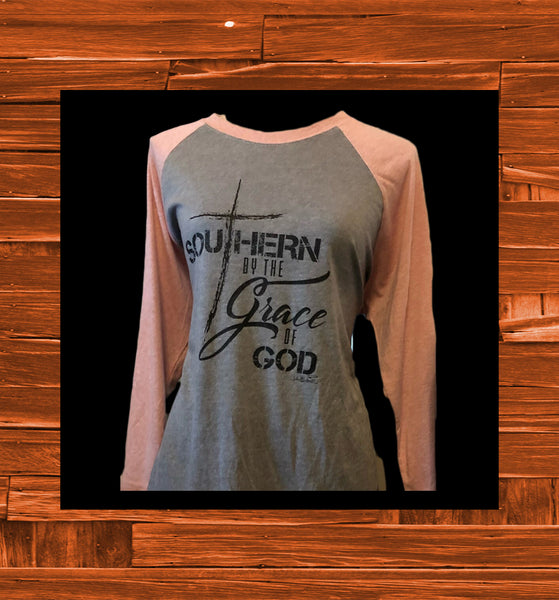 """Southern By The Grace Of God"" Baseball T shirt"