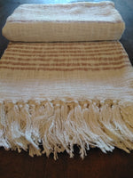 Rose Color Stripe Throw with Fringe