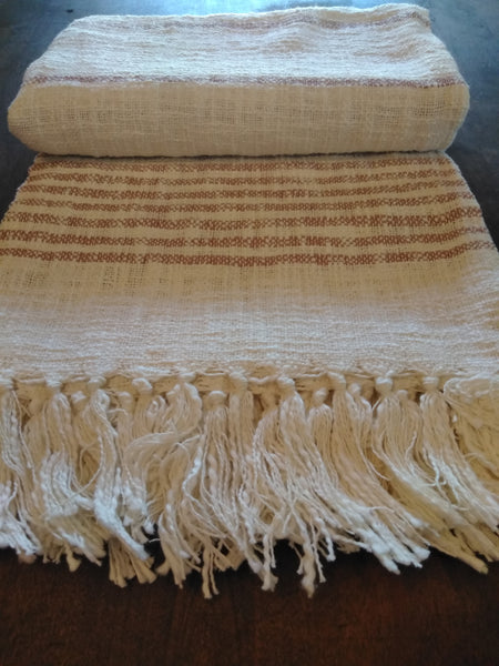 Beige Stripe Throw with Fringe