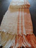 Orange/Vanilla Stripe Throw with Fringe