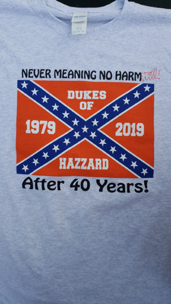 "Dukes ""Never Meanin' No Harm"" 40th anniversary T - JohnSchneiderStudioStore"
