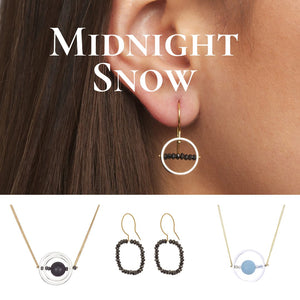 Midnight snow collection - graphic designs with kinetic elements with black diamonds and 18 karat gold by Nicole van der Wolf