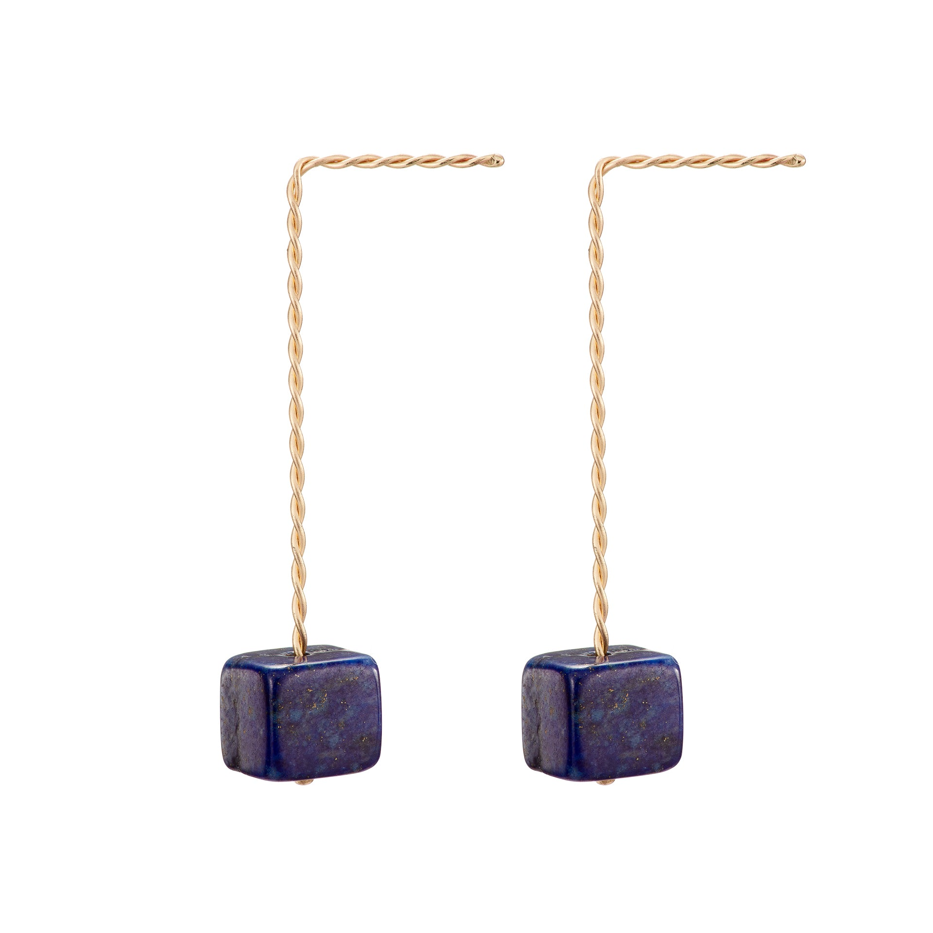 Cubo Long Earrings - Lapis Lazuli