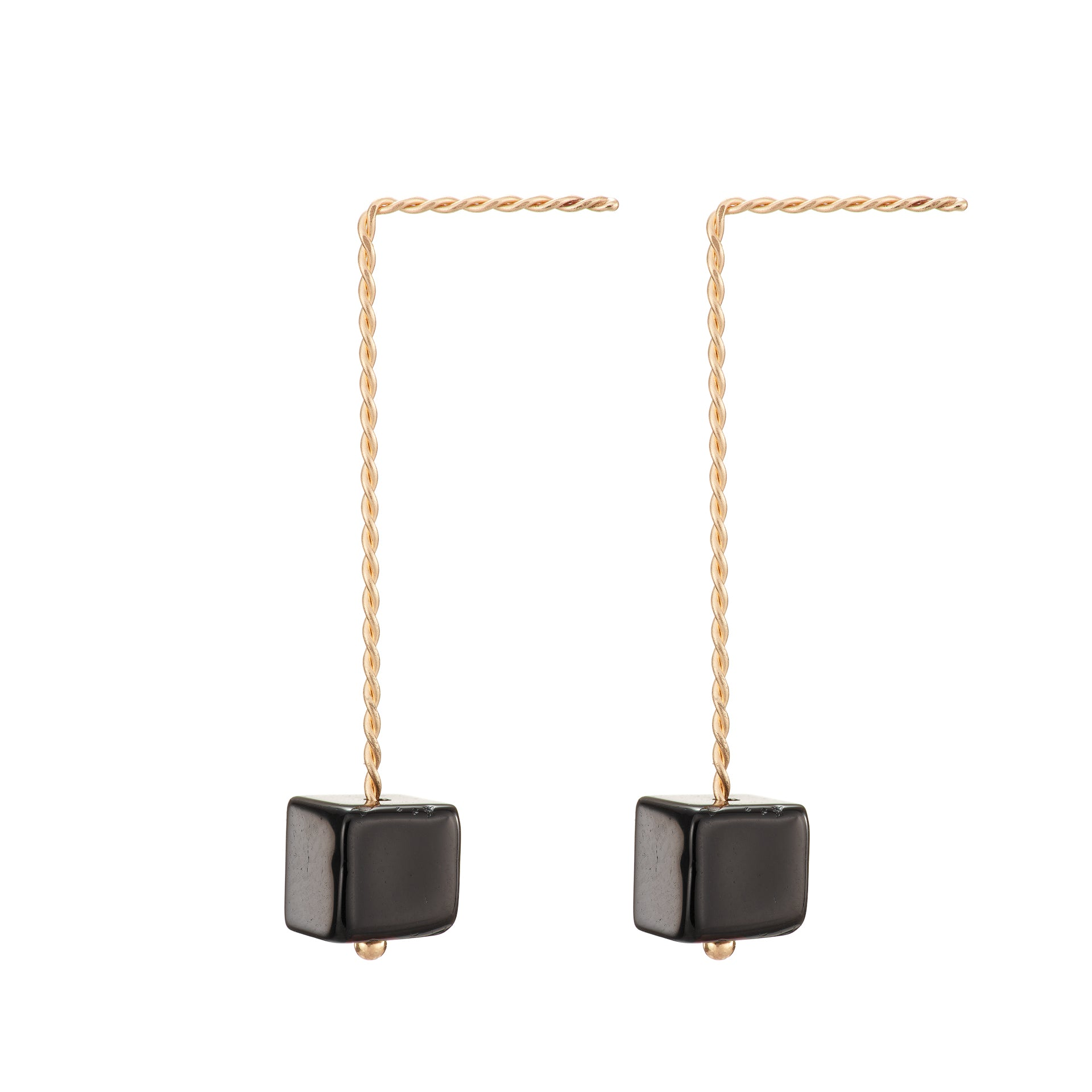 Cubo Long Earrings - Glossy Black Onyx