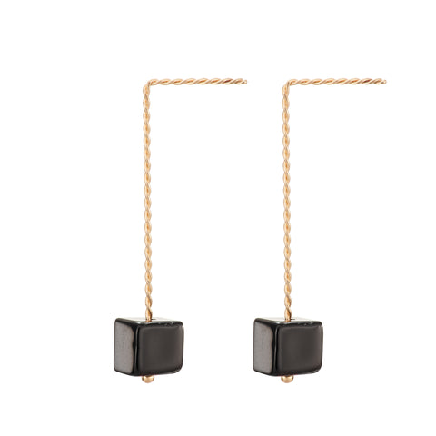 Cubo Long Earrings - Glossy Black (Onyx)