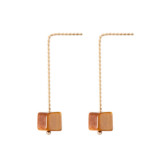 Cubo Long Earrings - Tiger Eye