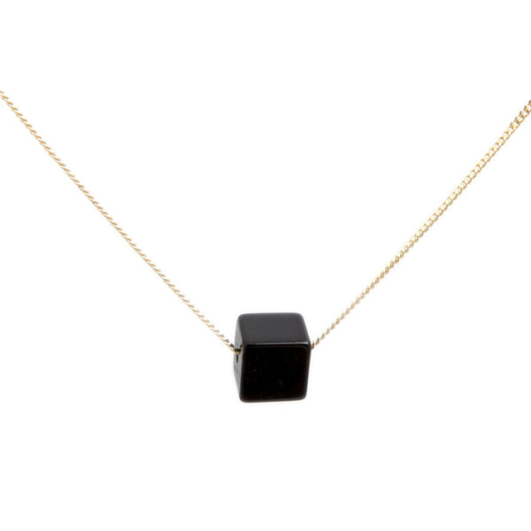 Cubo Necklace - Glossy Black Onyx