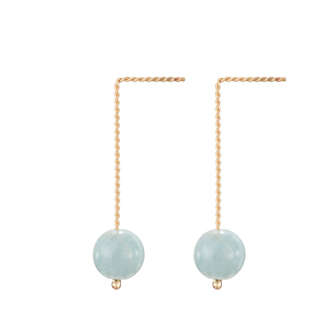 Solo Long Earring - Aquamarine (Blue Beryl)