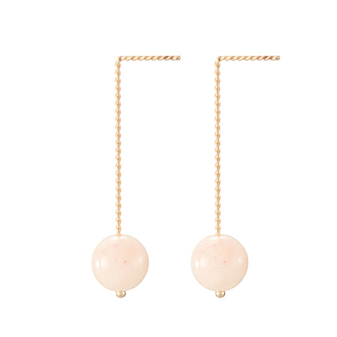 Solo Long Earring - Pink Beryl (Morganite)