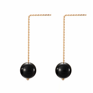 Solo Long Earring - Glossy Black (Onyx)