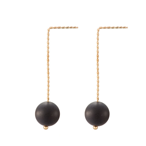 Solo Long Earring - Matte Black Onyx
