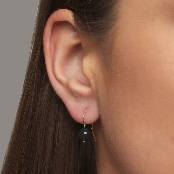 Solo Long Earring - Glossy Black Onyx