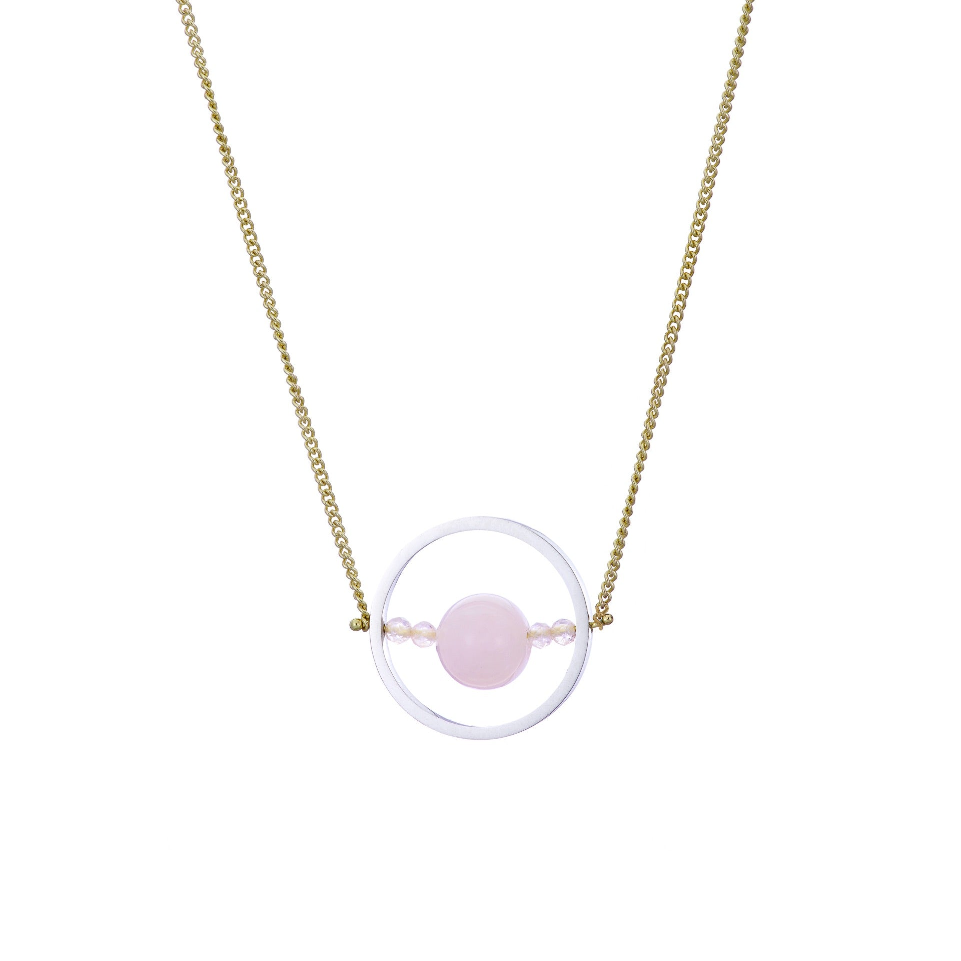 Ice Rink Necklace - Morganite (Pink Beryl), Large