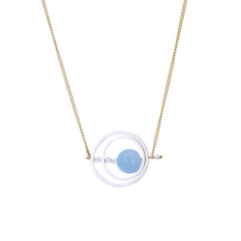 Ice Rink Double Axle Necklace - Aquamarine (Blue Beryl)