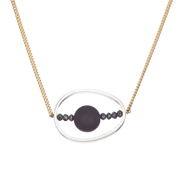 18k yellow gold black diamond onyx silver hoop pendant necklace