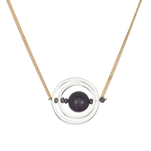 18k yellow gold black diamond onyx silver hoop drop pendant necklace