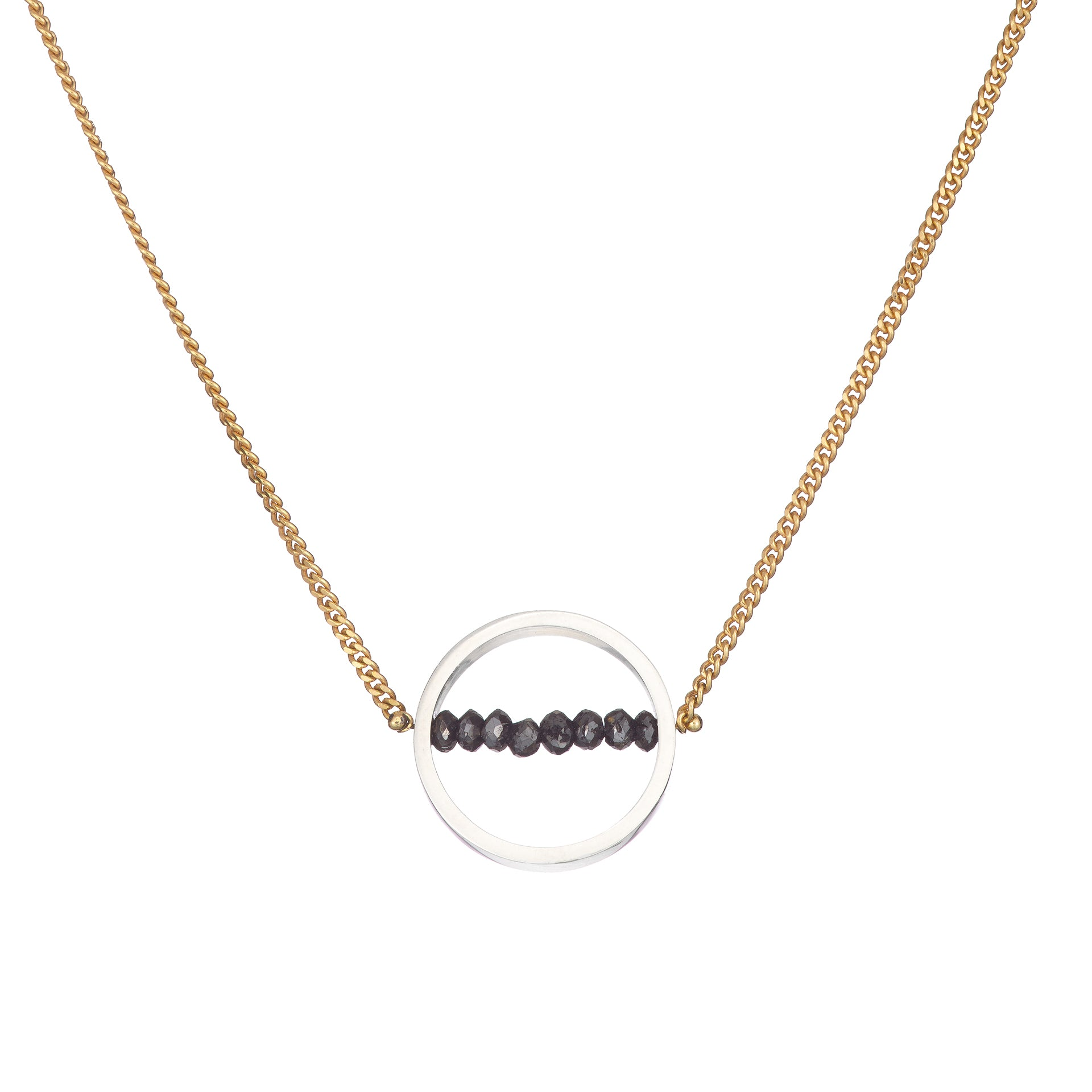 18k yellow gold black diamond silver hoop pendant necklace