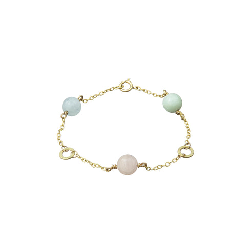 Solo triple Bracelet (Aquamarine, Morganite and Green Beryl)