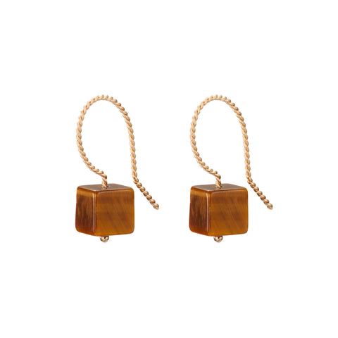 Cubo Drop Earrings - Tiger Eye