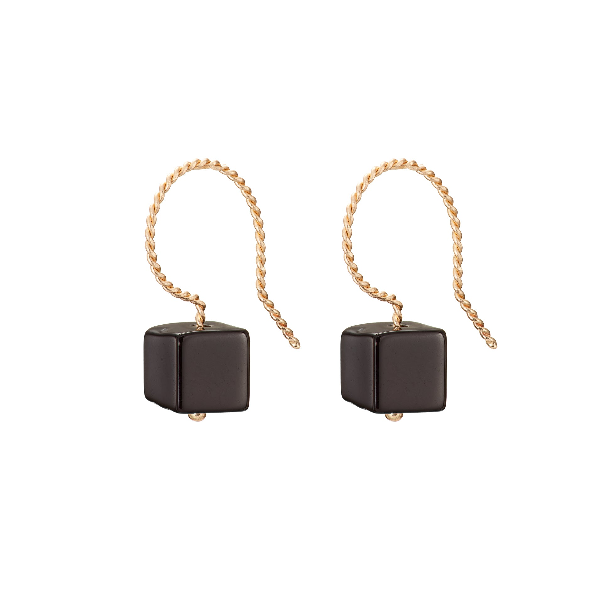 Cubo Drop Earrings - Glossy Black (Onyx)