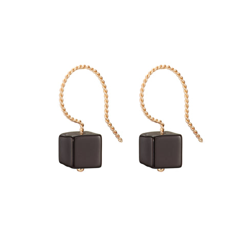 Cubo Drop Earrings - Glossy Black Onyx