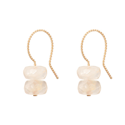 Trio Drop Earrings - Rose Quartz