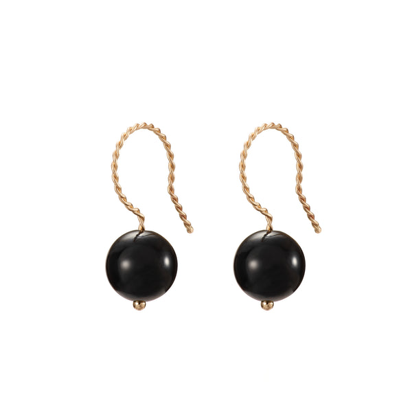 Solo Drop Earring - Glossy Black Onyx