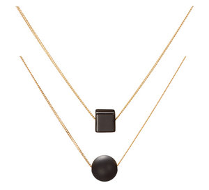 Set: Gloss Black Cubo and Matt Black Solo Necklaces (Onyx)